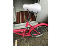 Women's Coral bike with brown basket