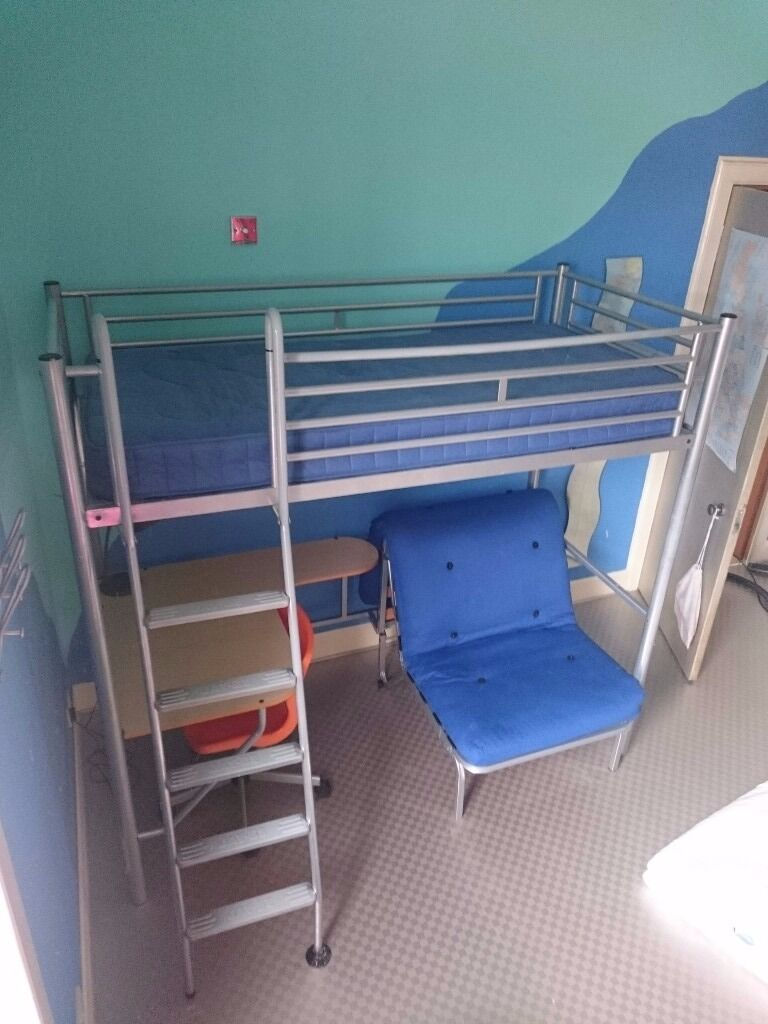 Jay Be High Sleeper Single Bed With Desk And Futon Pullout