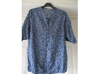 cotton traders top blue floral blouse
