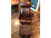 Swivel reclining brown Leather chair with foot stool, very good condition