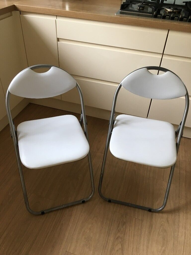 Harbour Housewares Padded Folding Chairs X2 In White In