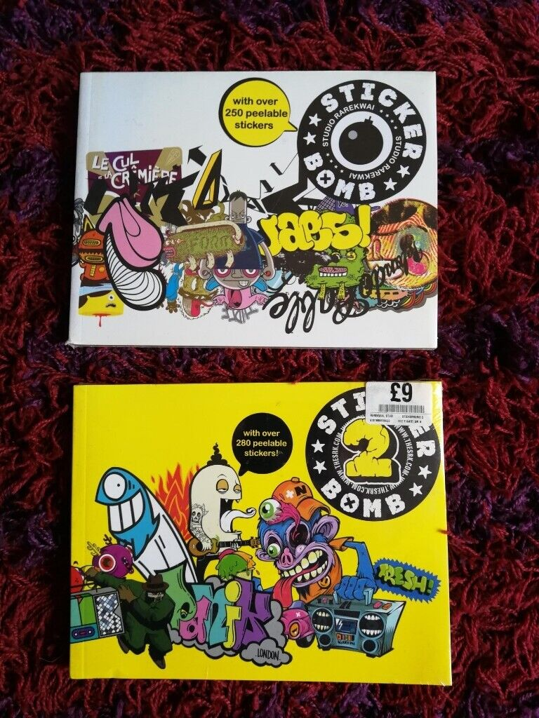 Sticker bomb 1 and 2 books new and sealed stickers skate decal vinyl