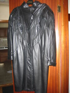 Brand New Black 3/4 Length Lambskin Dress Coat-Size 10/12