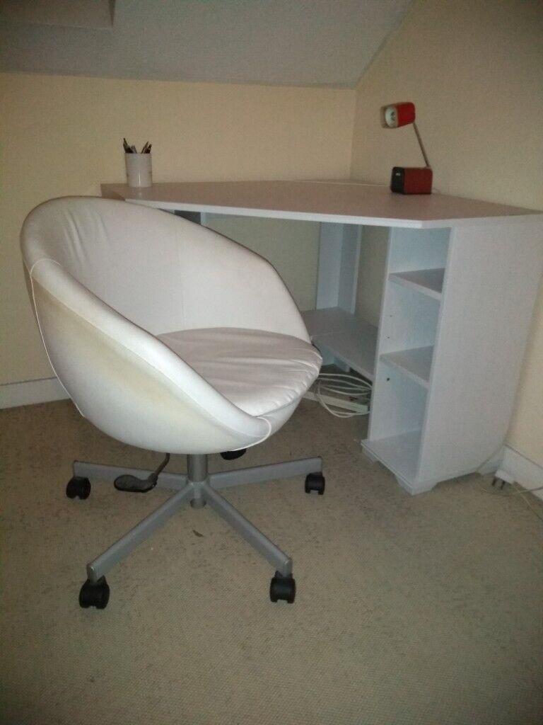 Desk (IKEA ) - white corner desk and a chair   in Putney, London   Gumtree
