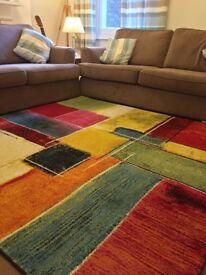 Modern Multicolour Oil-paint Patters Rug Carpet - Size: 2mx2m