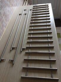 22 Brushed Steel T-Bar Cupboard Handles