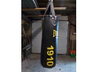 Everlast classic black leather 1910 heavy punch bag.