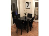 Next Square to Rectangle Black High Gloss Dining Table Year Old (RRP £375) NOT CHAIRS!!!