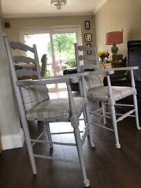 Upcycled carver chairs in dove grey. Reupholstered and have matching handmade cushions