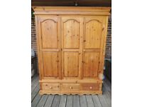 Pine Triple Wardrobe with 3 Drawers