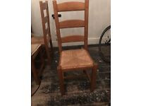 Set of 6 light oak ladderback rush seat dining chairs. Very good condition