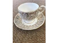Bone China gold leaf tea cup and saucer