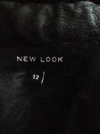 Women's leather jacket new look black
