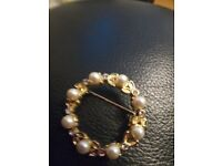 Rollled Gold Pearl Brooch
