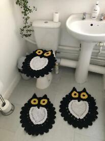 Set of Handmade Owl Crochet Rug bathroom