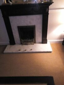 Dark Oak Fire Suround Complete with Marble Back & Hearth