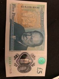Collectible £5 note very rare ak48, mint condition