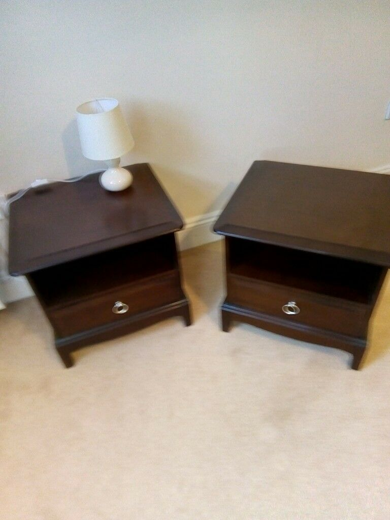 Dark Wood Stag 2x Bedside Cabinets