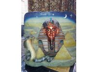 Egyptian lamp & wall art