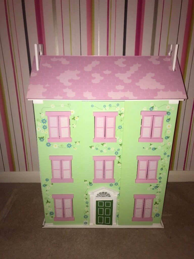 Colourful wooden dolls house - inc dolls & furniture for each room