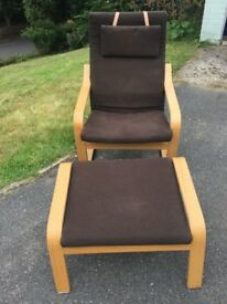 Ikea Poang Armchair and Footstall