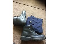 Steel toe cap boots and work trousers