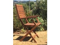 Six New Folding Hardwood Chairs with Armrests