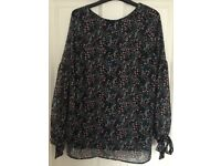 Maternity navy printed chiffon top from H&M - UK size 10-12