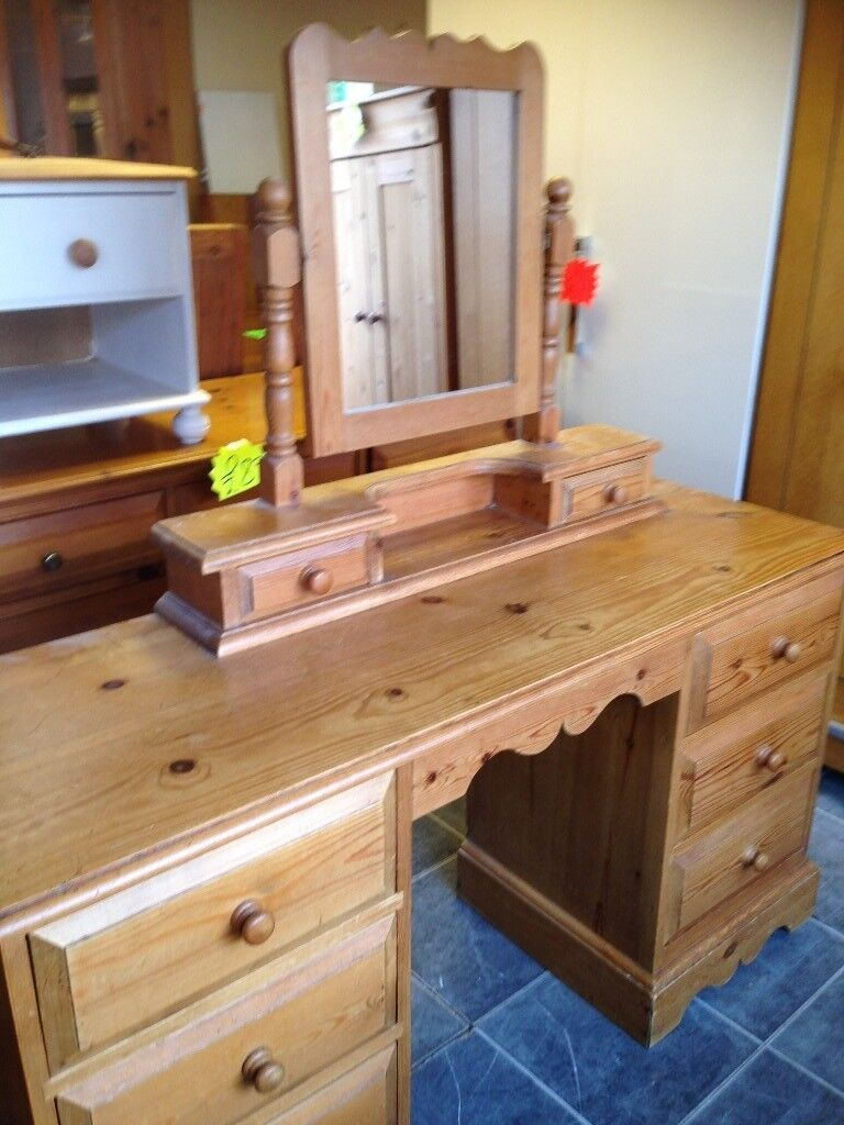 Solid Rustic Pine Dressing Table With Fixed Attached Mirror Every Inch