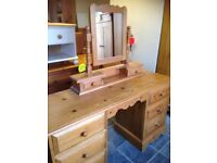 SOLID RUSTIC PINE DRESSING TABLE WITH FIXED ATTACHED MIRROR EVERY INCH SOLID PINE, SOLID PINE BACK