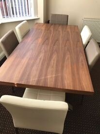 DFS wooden dining table with 6 chairs