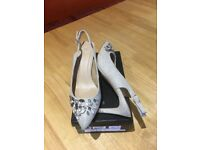 Size 5 ladies wedding shoes, neutral with gems