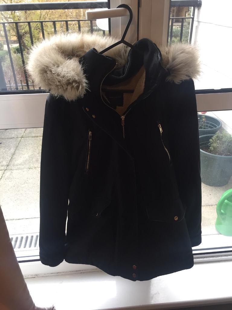 Zara Quilted Coat With Faux Fur Hood M In Mile End London Gumtree