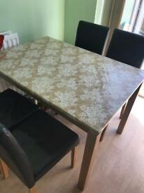 Oak finish table and 4 chairs