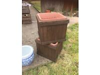 TWO WOODEN GARDEN PLANTERS