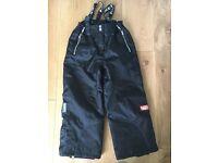 Black unisex children ski pants
