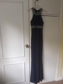 Elegant blue JS Boutique sleeveless dress, diamante detail. Size 6, worn once.
