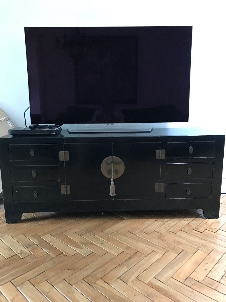 Black Lacquered Oriental TV cabinet in good condition | in Gamston ...