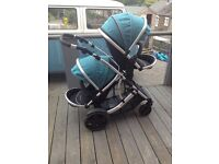 Kidz Kargo double pram, teal couloured hoods, x2 rain covers, suitable from 6 months