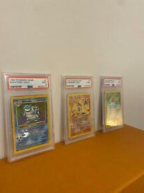Pokemon 1999 base set unlimited trio PSA 9 Charizard Blastoise Venusaur