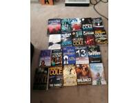 BOX OF PAPERBACK/HARDBACK BOOKS ON CRIME, THRILLERS, MYSTERY