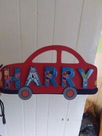 wooden painted name sign Harry