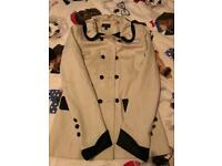 Cream Coloured, Mid Length Topshop Coat, Size 6