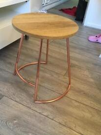 MADE wooden stool side table rose gold