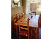 Dining table and chairs inc cushion covers