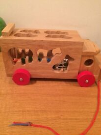 Wooden animal sorter pull along lorry
