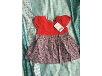 BRAND NEW NEXT RED BABY GIRLS DITSY DRESS 3-6 MONTHS RRP £8