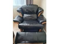 Black Leather Recliner Chair.