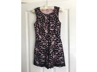 Size 8 play suit pink with black lace