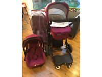 Travel system, car seat, pram, buggy attachment and buggy board